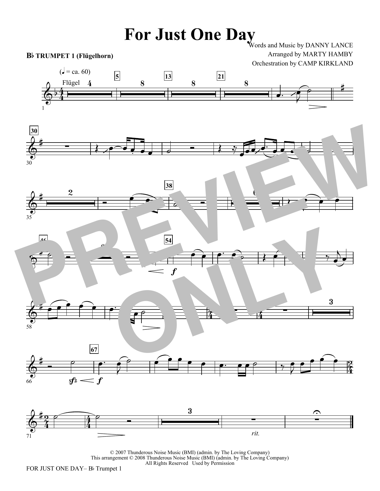 For Just One Day - Trumpet 1 (Choir Instrumental Pak)