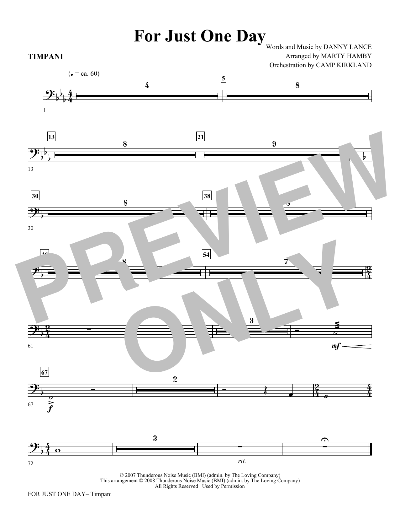 For Just One Day - Timpani Sheet Music