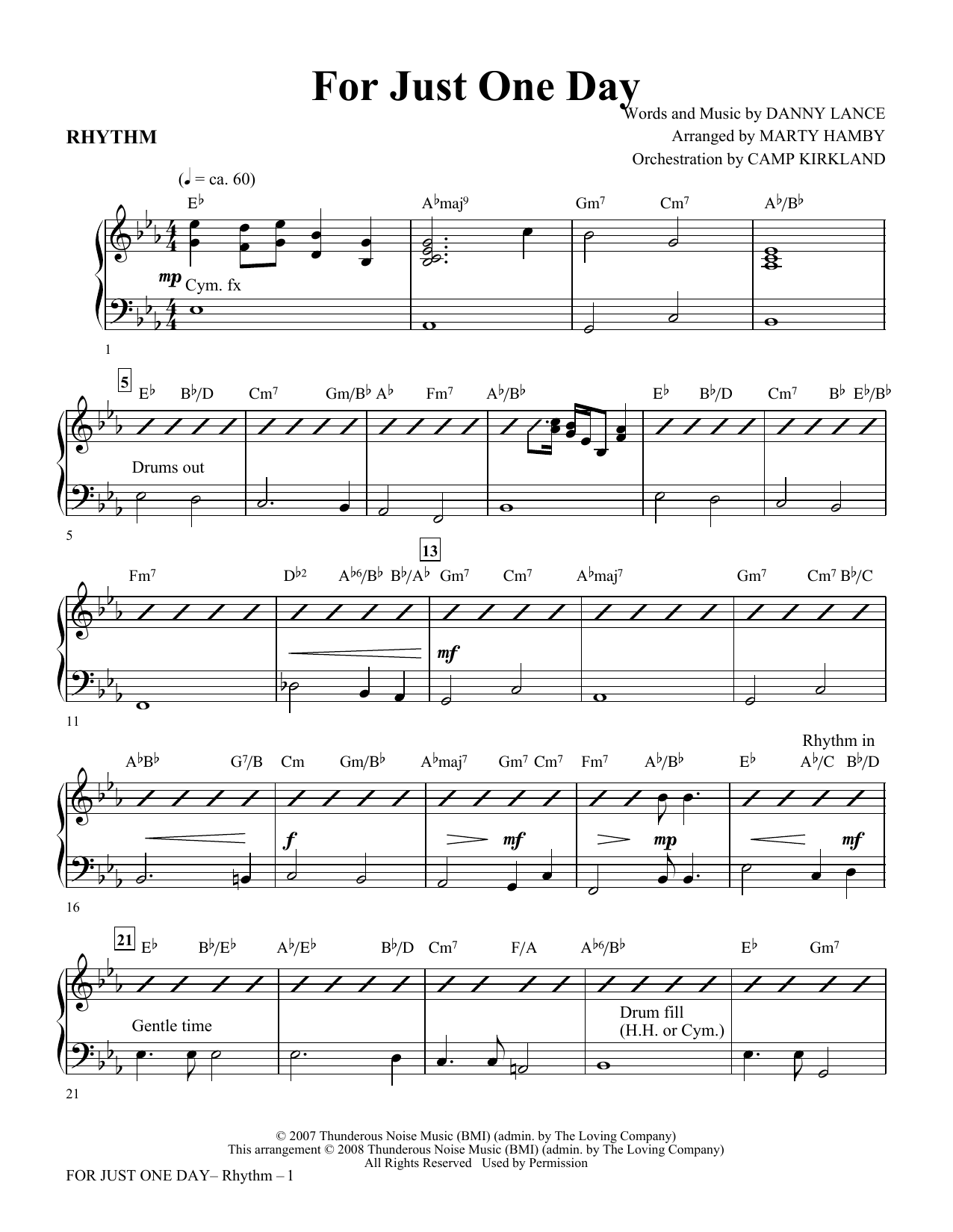 For Just One Day - Rhythm Sheet Music