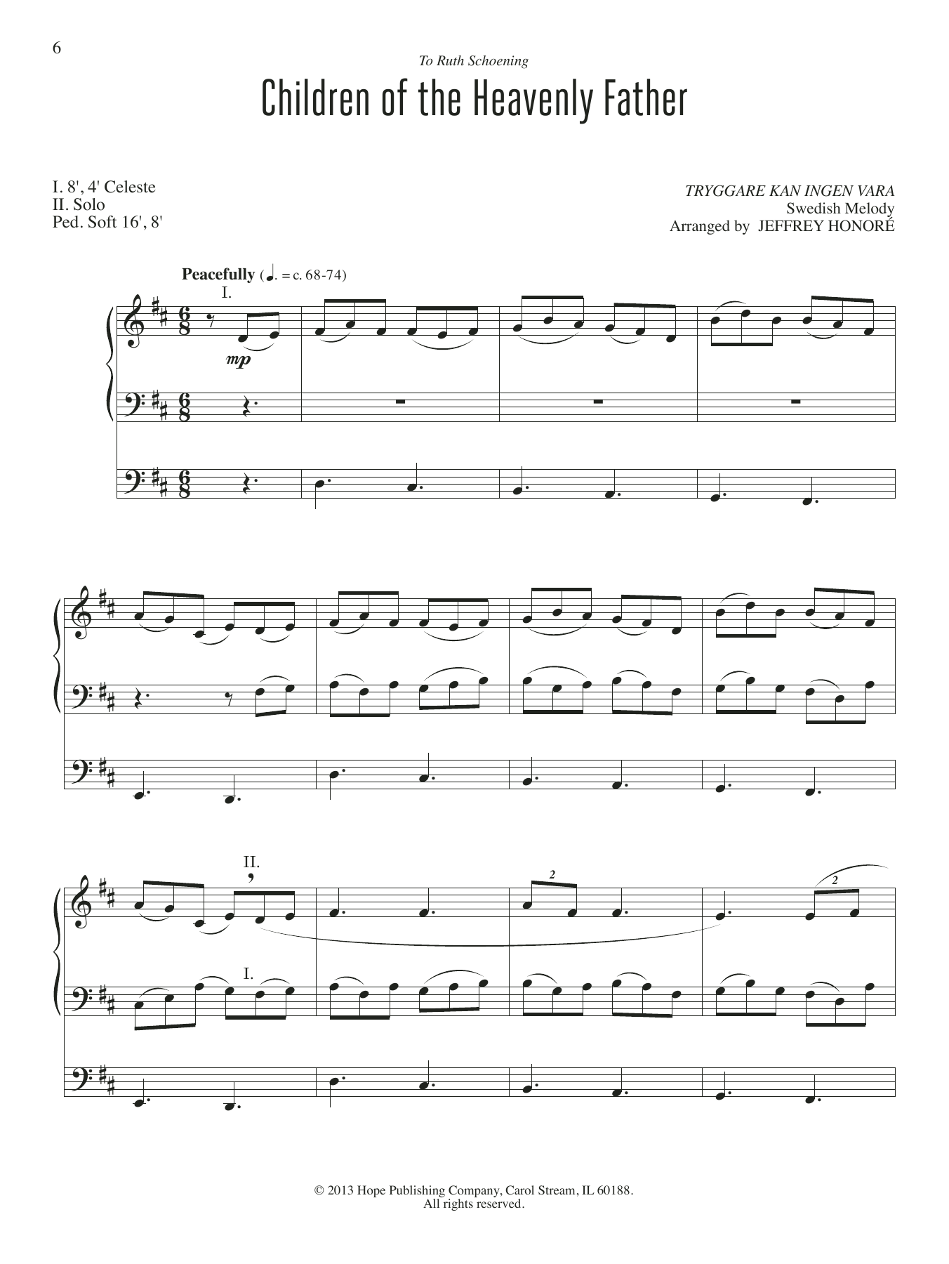 Children Of The Heavenly Father By Jeffery Honore Organ Digital Sheet Music