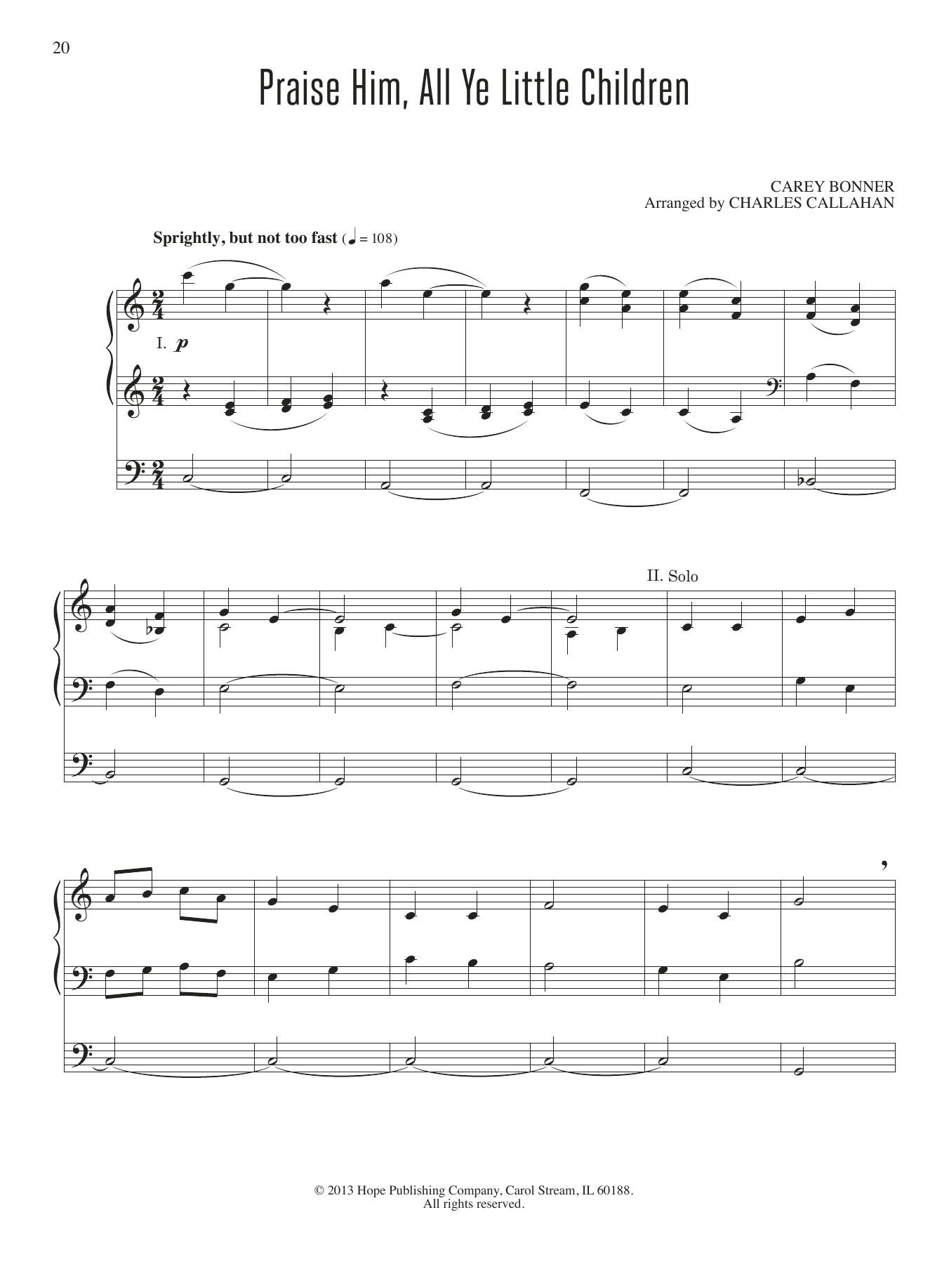 Praise Him, All Ye Little Children Sheet Music