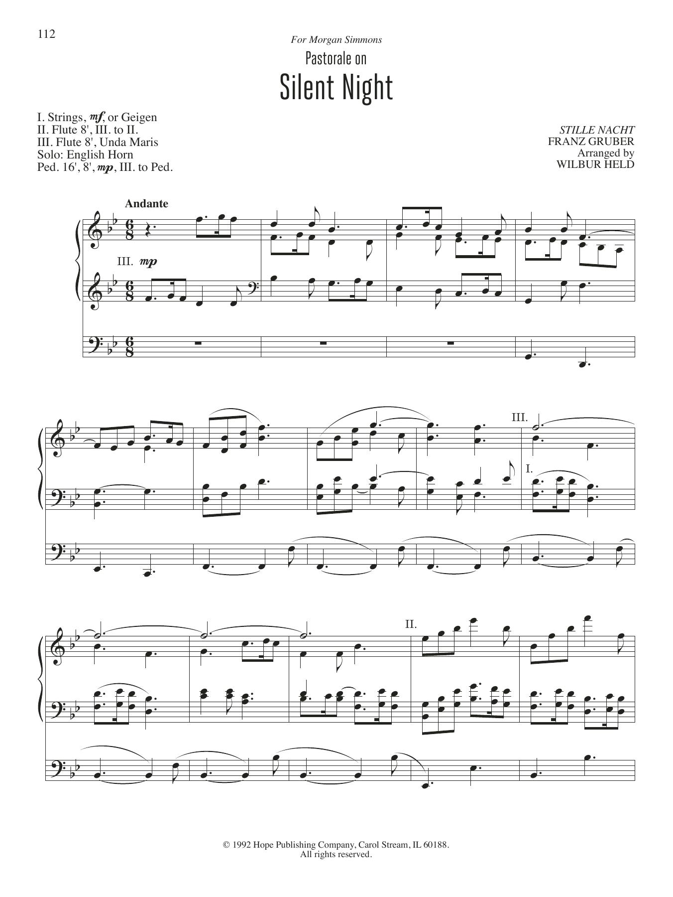 Pastorale On Silent Night Sheet Music