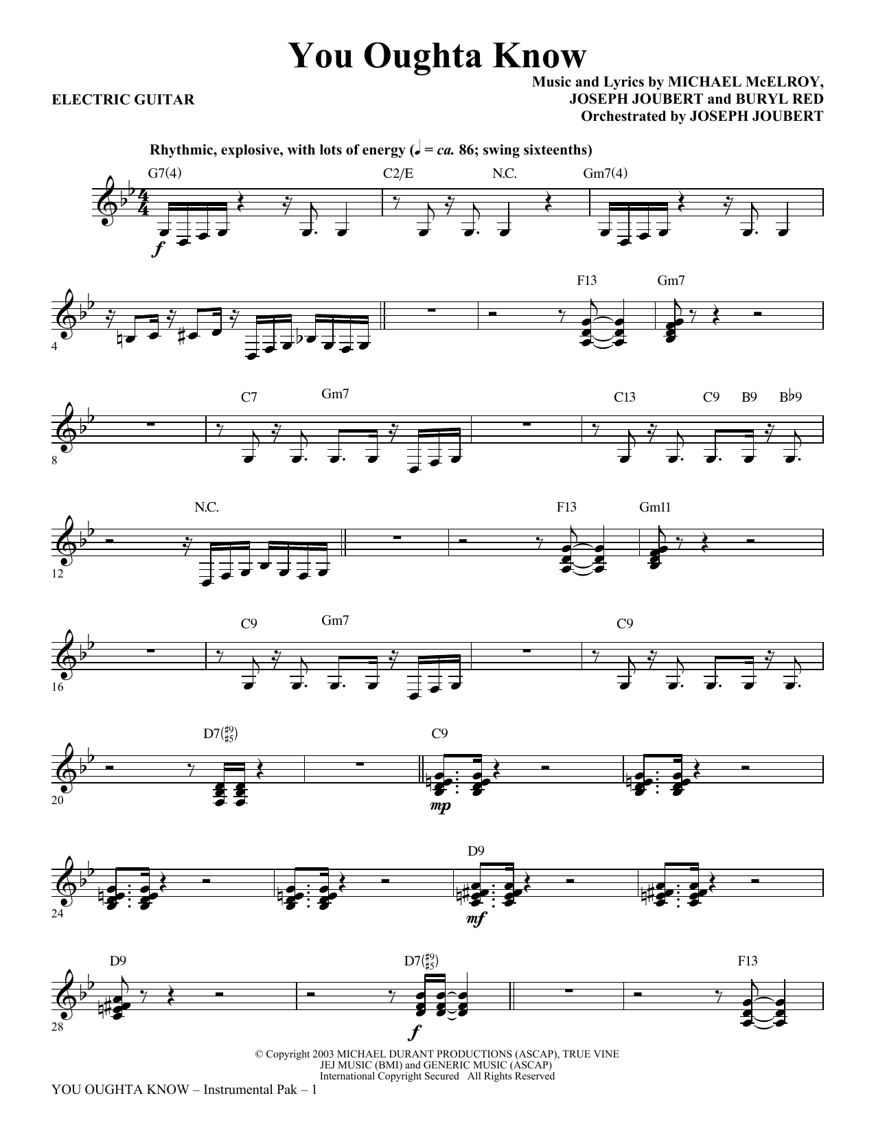 page one of You Oughta Know - Electric GuitarASALTTEXT