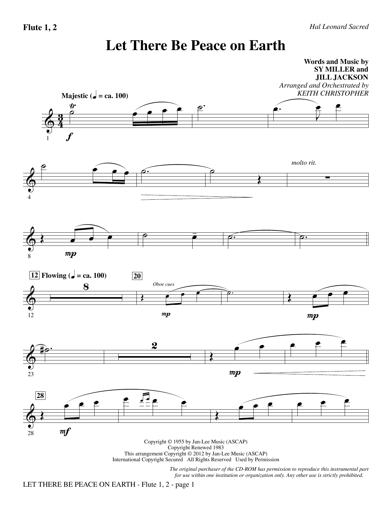 Let There Be Peace On Earth - Flute 1 & 2 Sheet Music