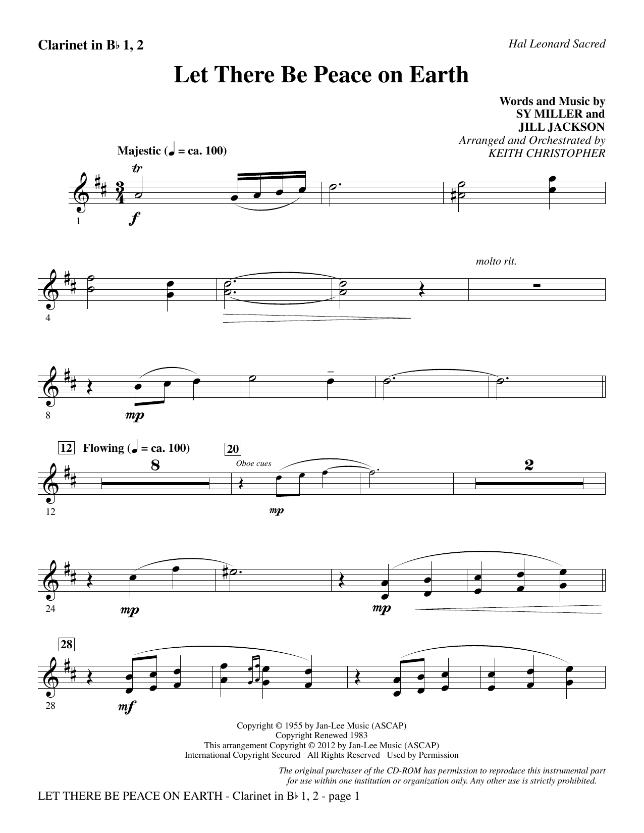 Let There Be Peace On Earth - Bb Clarinet 1 & 2 Sheet Music