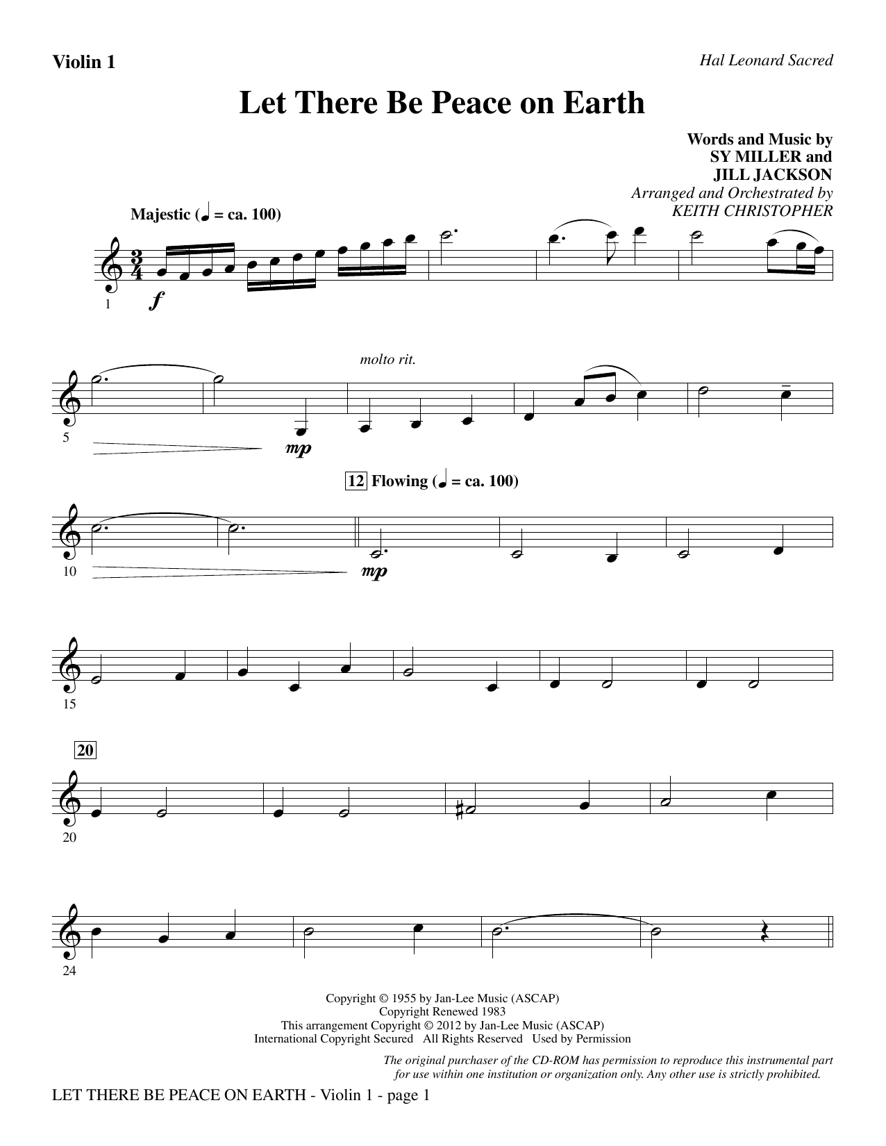 Let There Be Peace On Earth - Violin 1 Sheet Music