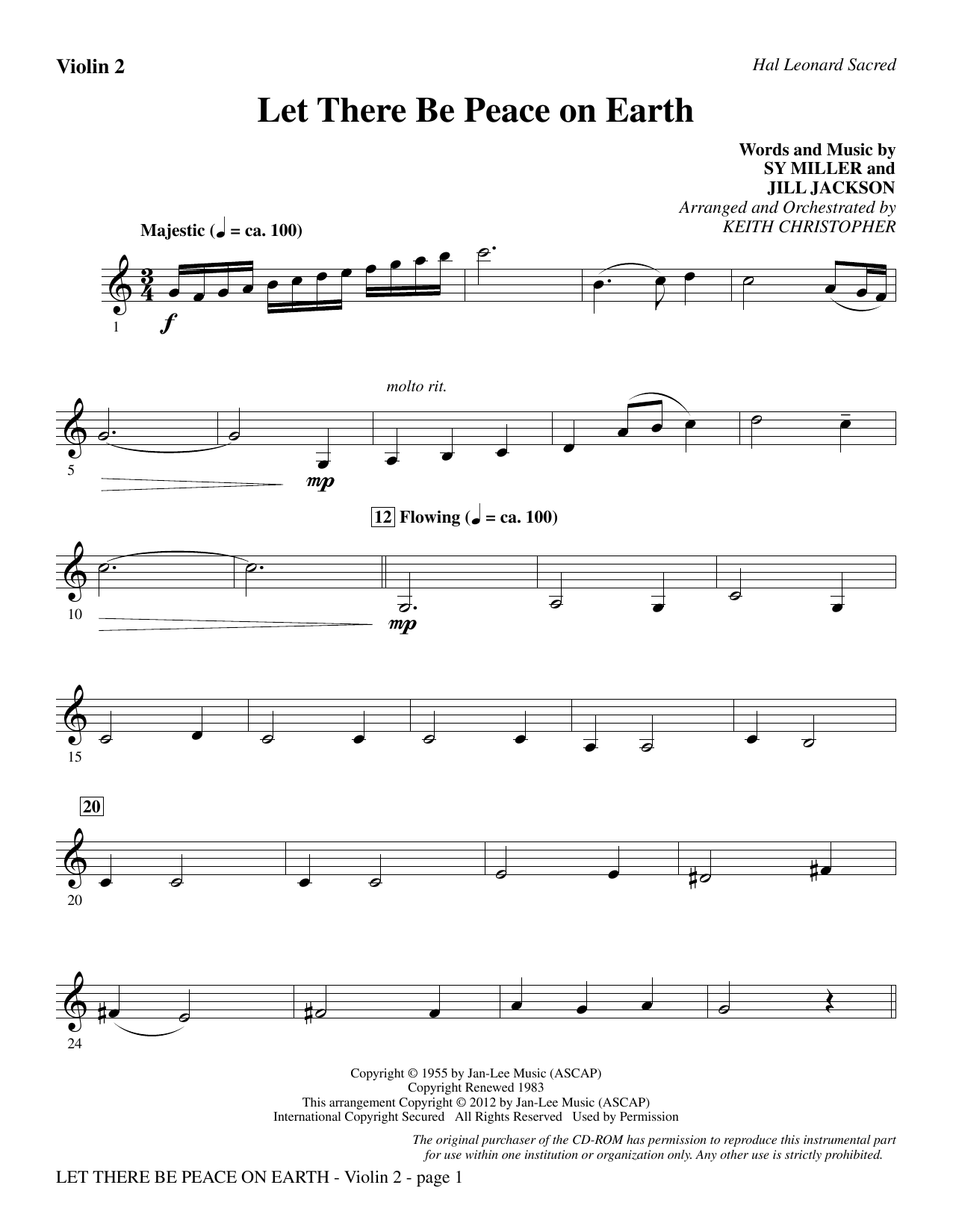 Let There Be Peace On Earth - Violin 2 Sheet Music