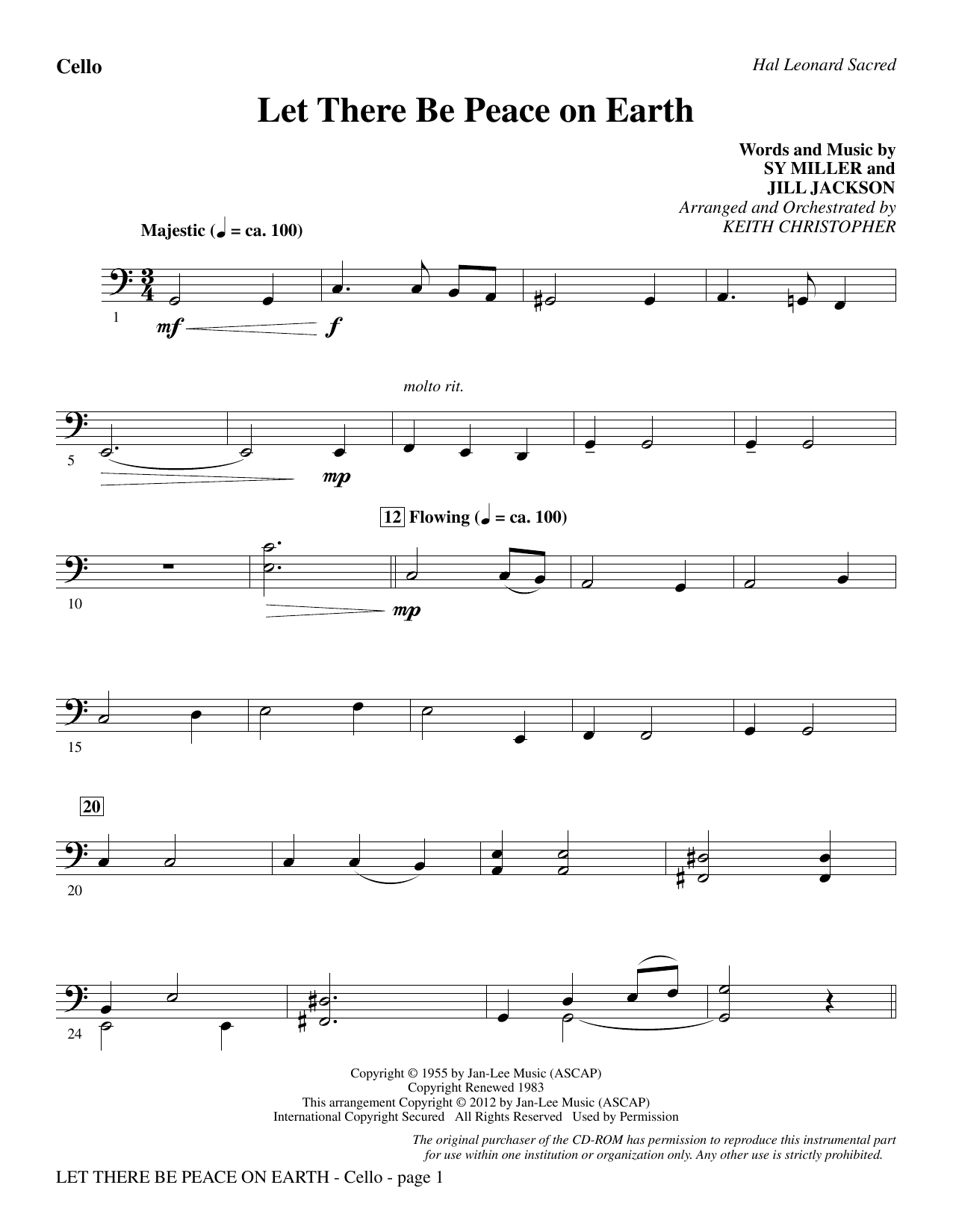 Let There Be Peace On Earth - Cello (Choir Instrumental Pak)