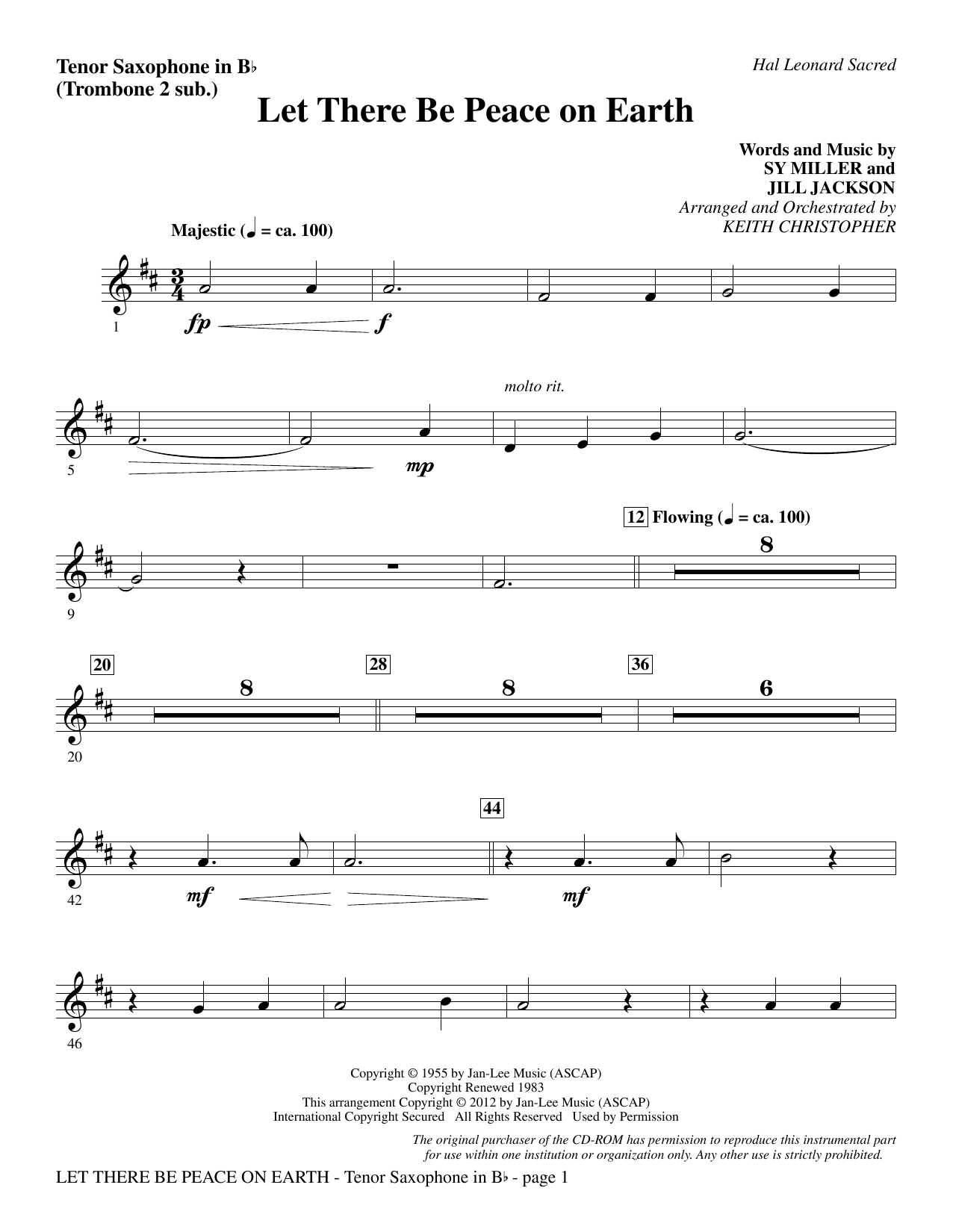 Let There Be Peace On Earth - Tenor Sax (sub. Tbn 2) Sheet Music