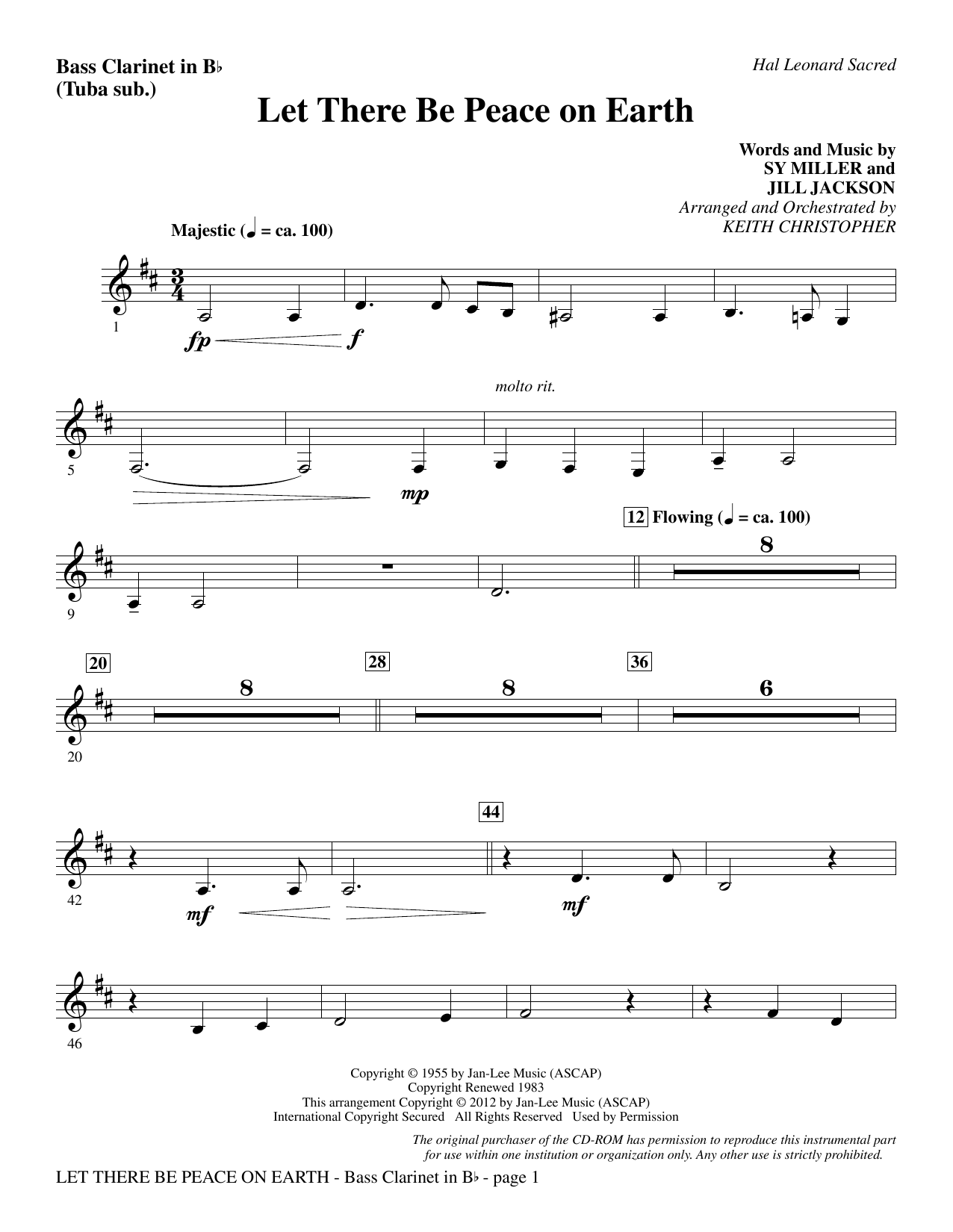Let There Be Peace On Earth - Bass Clarinet (sub. Tuba) Sheet Music