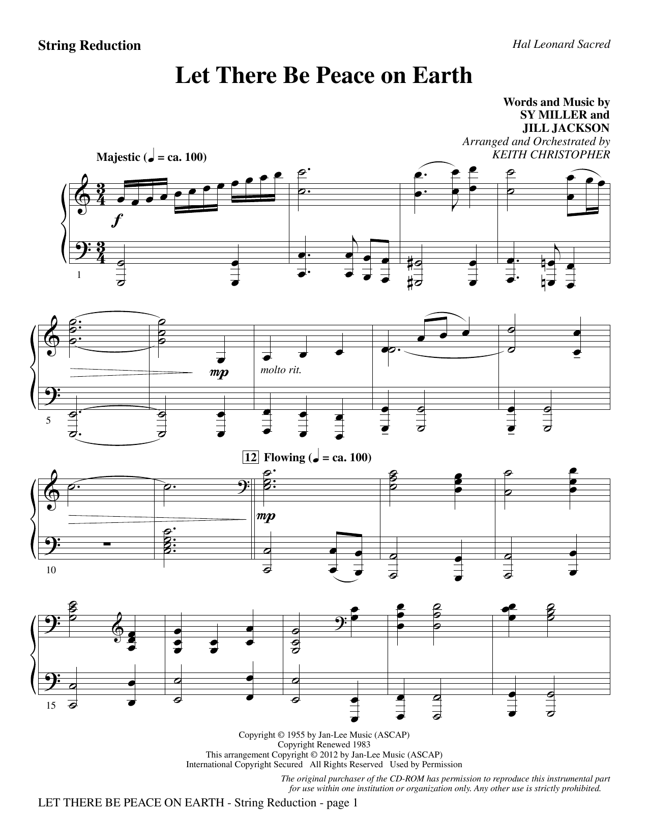 Let There Be Peace On Earth - Keyboard String Reduction Sheet Music