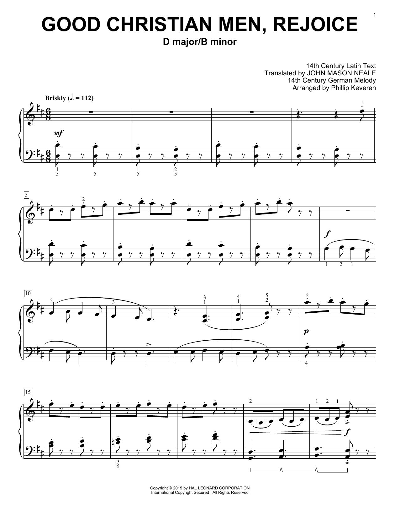 Partition piano Good Christian Men, Rejoice de Christmas Carol - Piano Solo