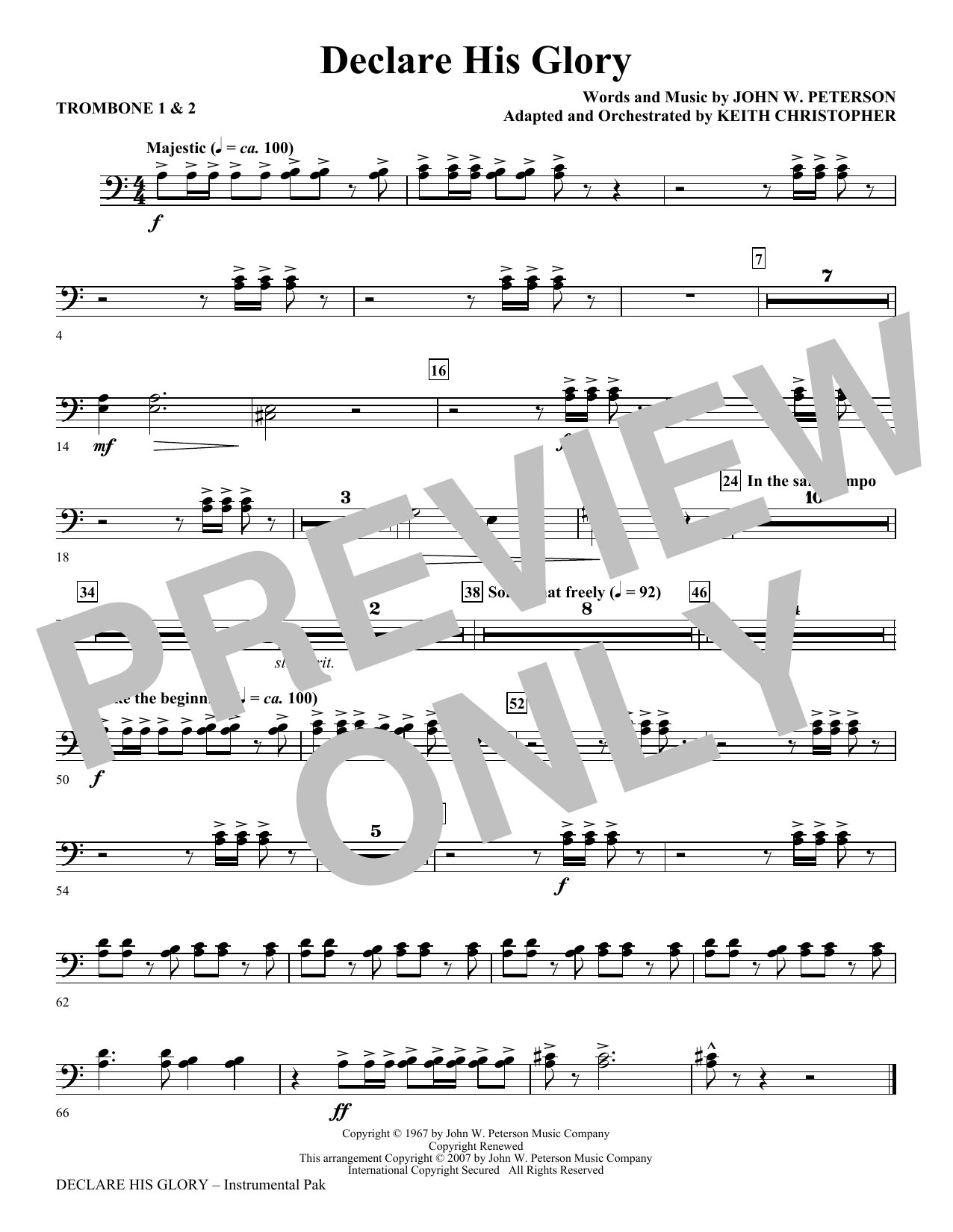 Declare His Glory - Trombone 1 & 2 Partition Digitale