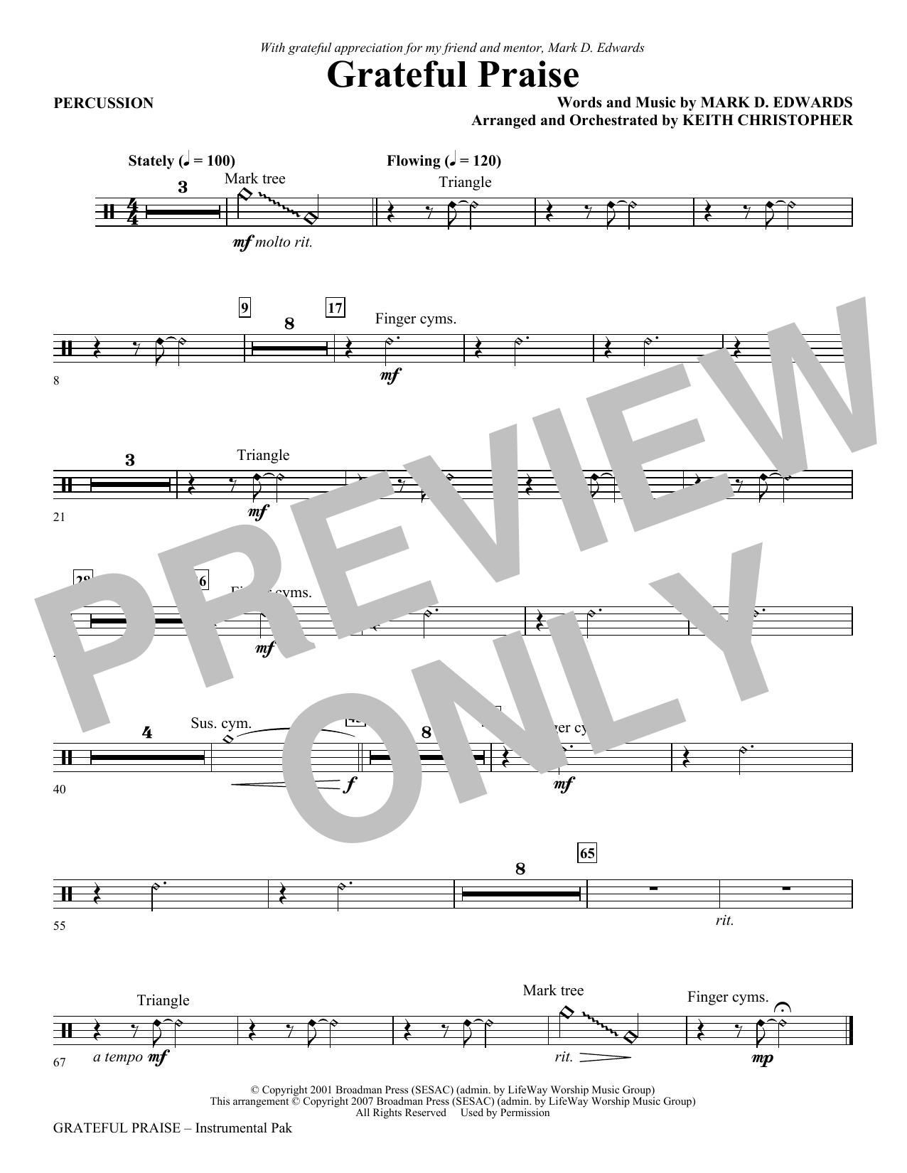Grateful Praise - Percussion Sheet Music