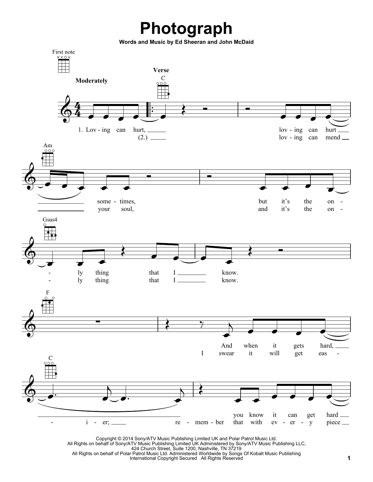 Photograph sheet music by Ed Sheeran (Ukulele u2013 158873)