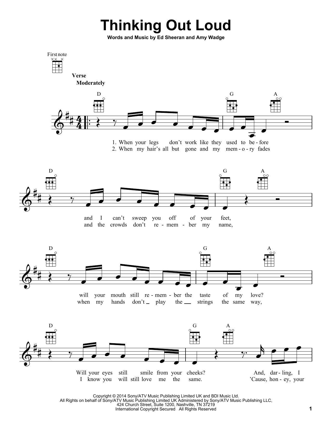 Thinking Out Loud Sheet Music