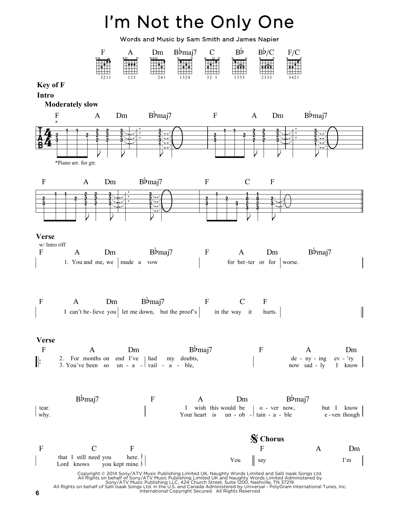 Tablature guitare I'm Not The Only One de Sam Smith - Tablature Guitare Lead