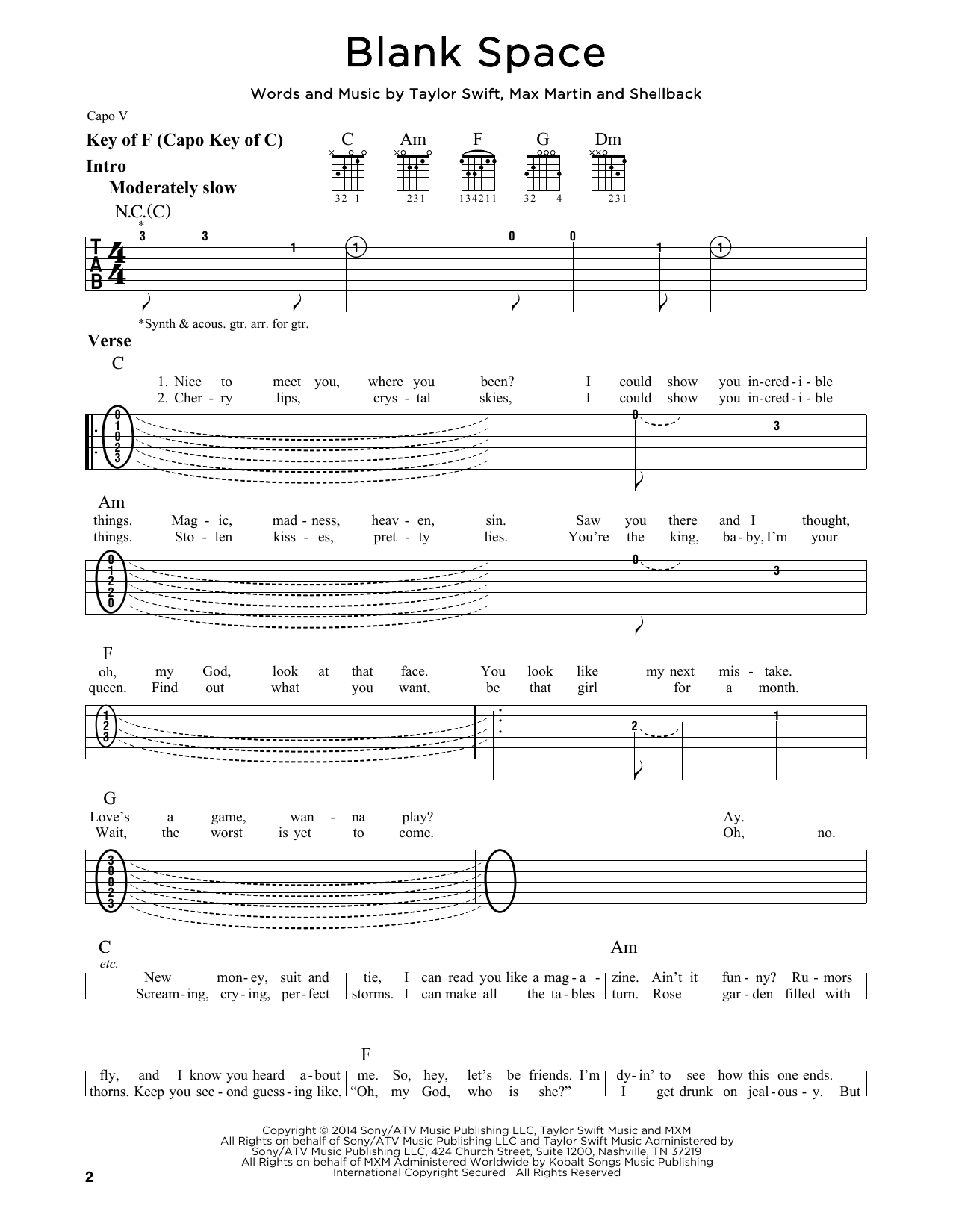 Tablature guitare Blank Space de Taylor Swift - Tablature Guitare Lead