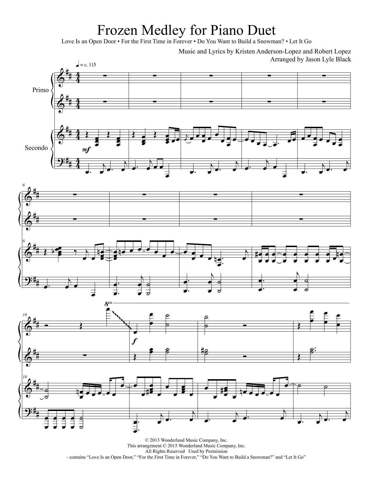 Frozen Medley for Piano Duet Sheet Music