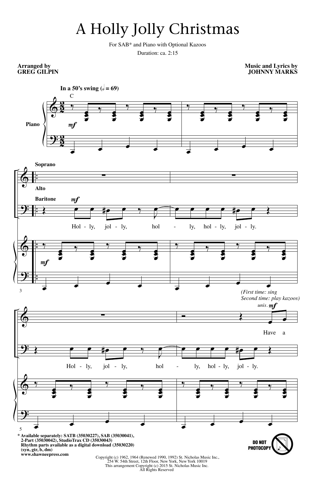 A Holly Jolly Christmas Choral SAB sheet music by by Greg Gilpin ...