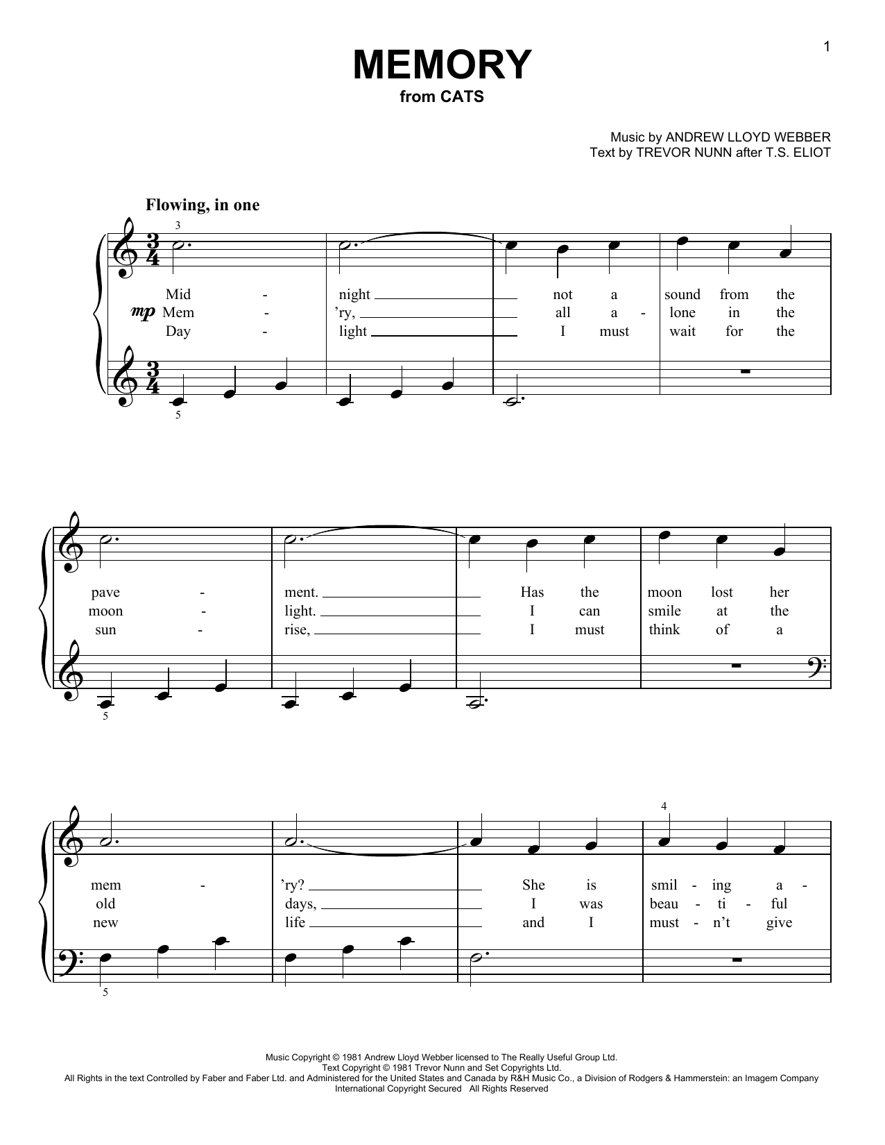 piano sheets cats memory