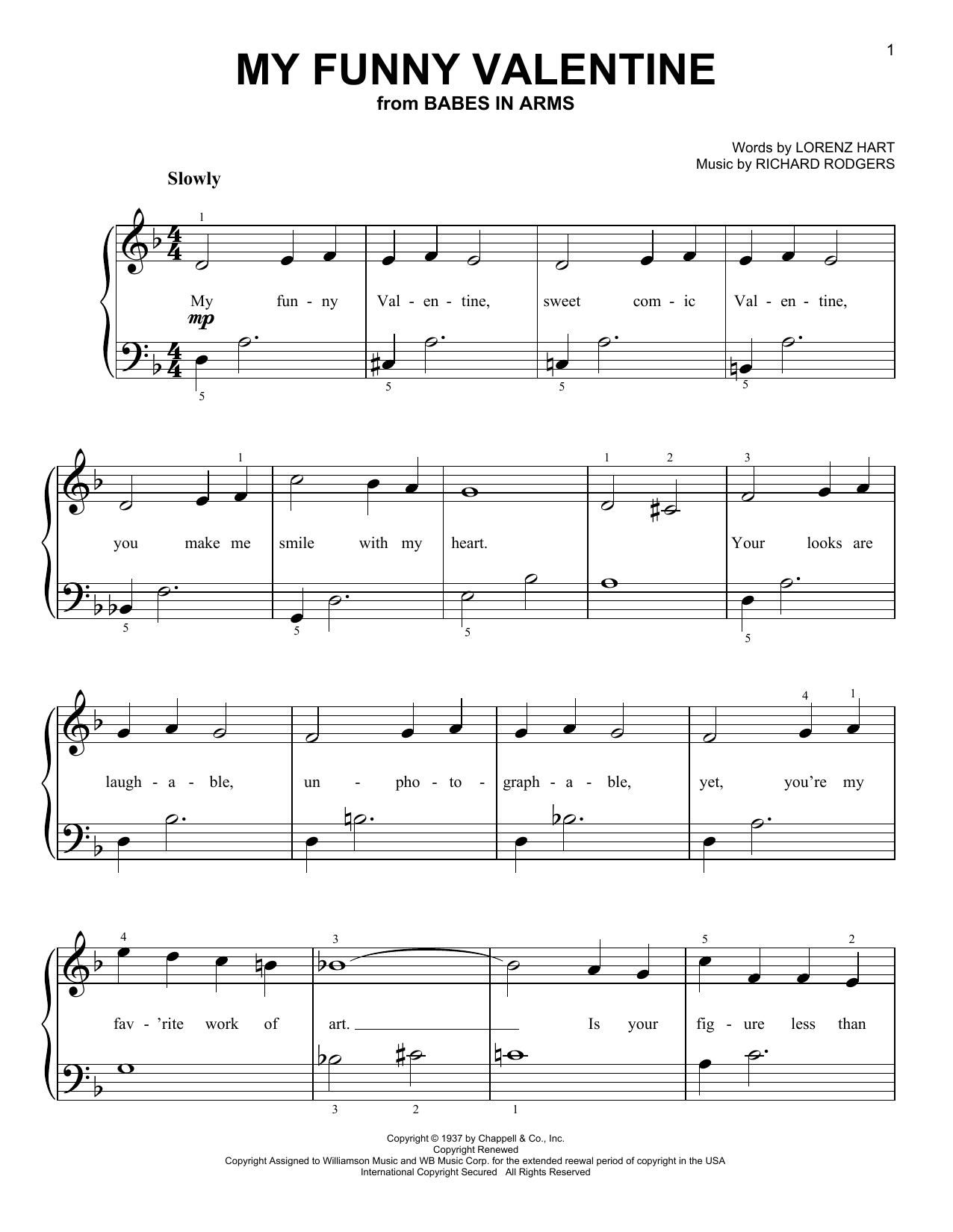 My Funny Valentine Print Sheet Music Now