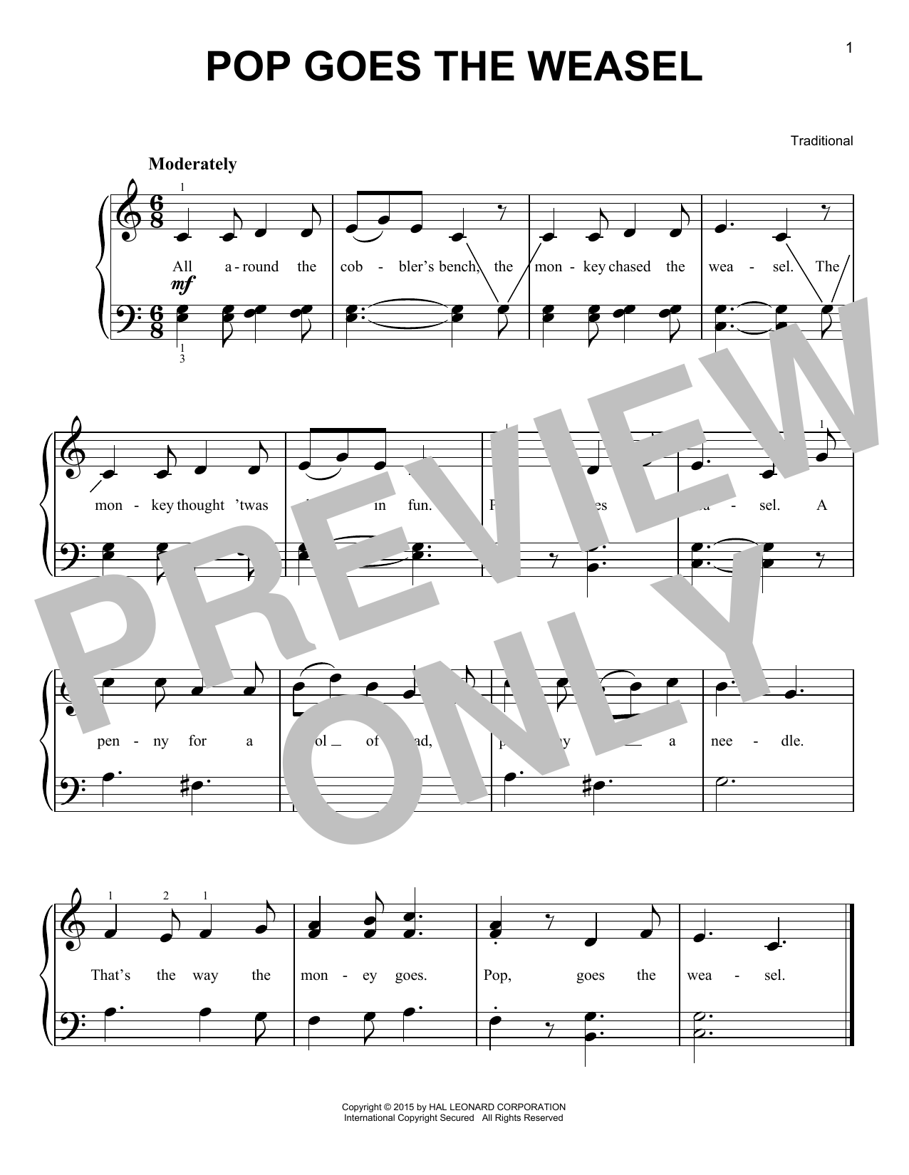 Pop Goes The Weasel Sheet Music
