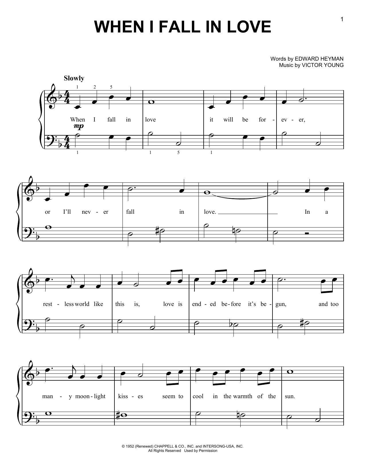 Partition piano When I Fall In Love de Carpenters - Piano Facile