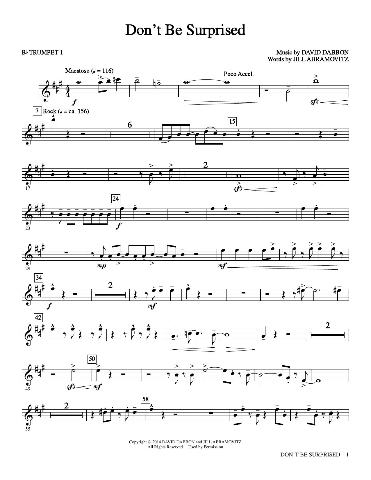 Don't Be Surprised - Bb Trumpet 1 (Choir Instrumental Pak)