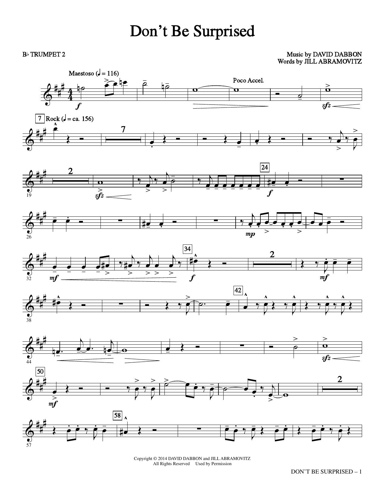 Don't Be Surprised - Bb Trumpet 2 Sheet Music