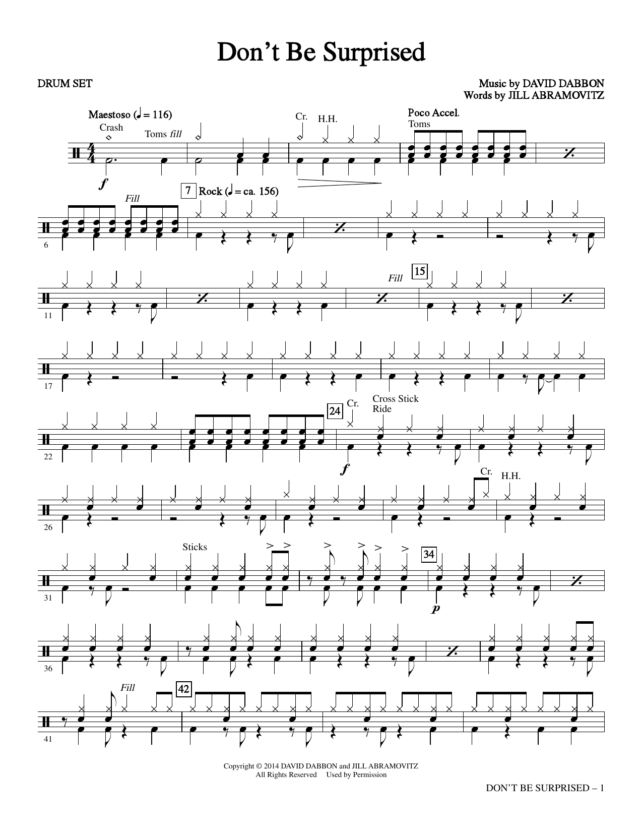 Don't Be Surprised - Drums Sheet Music