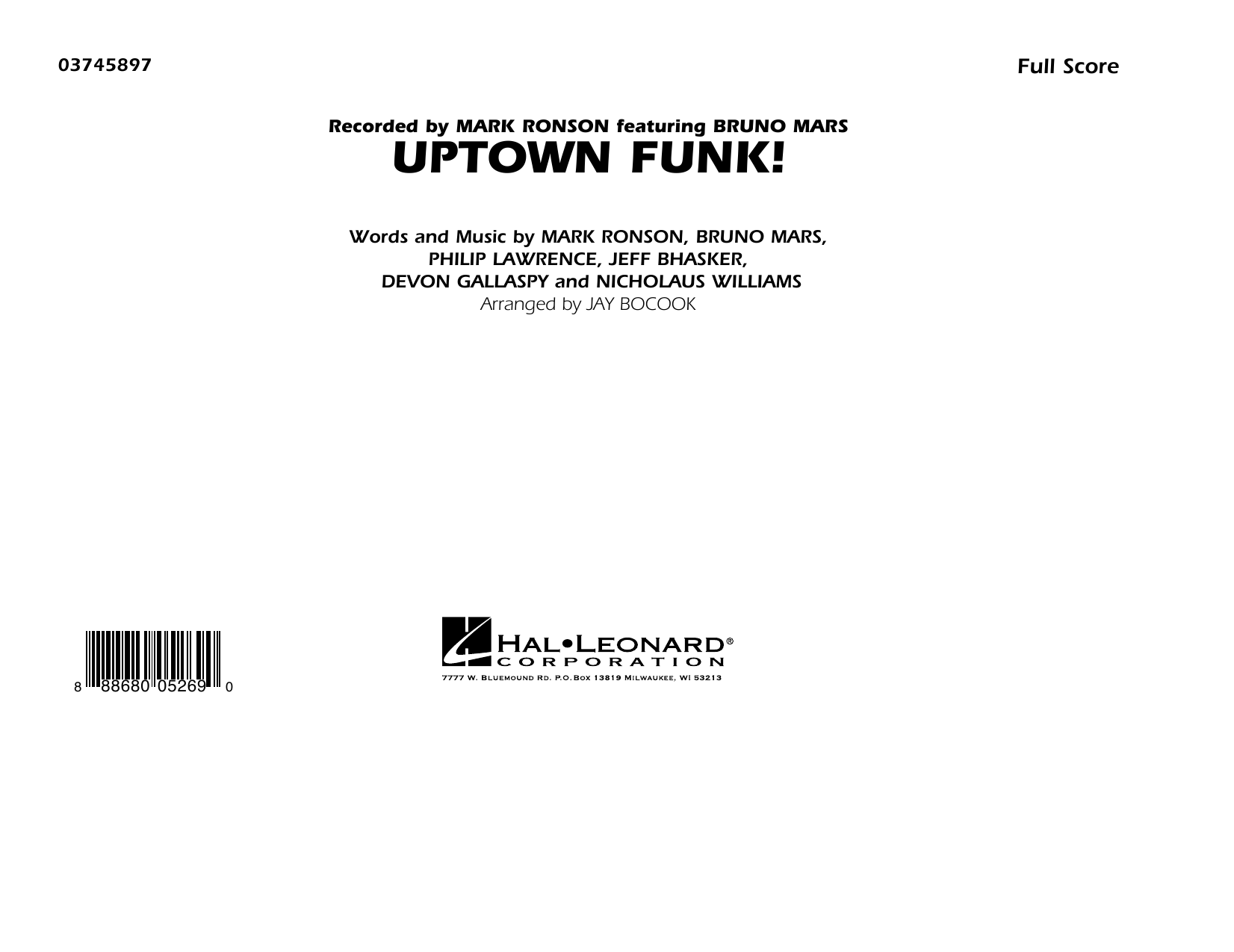 Uptown Funk! - Conductor Score (Full Score) (Marching Band)