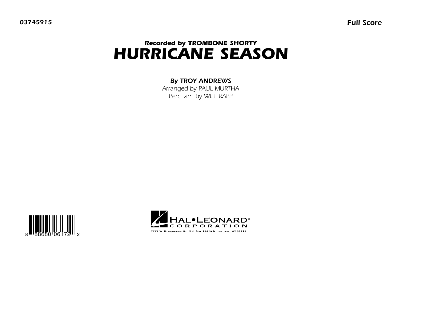 Hurricane Season (COMPLETE) sheet music for marching band by Paul Murtha and Troy Andrews. Score Image Preview.