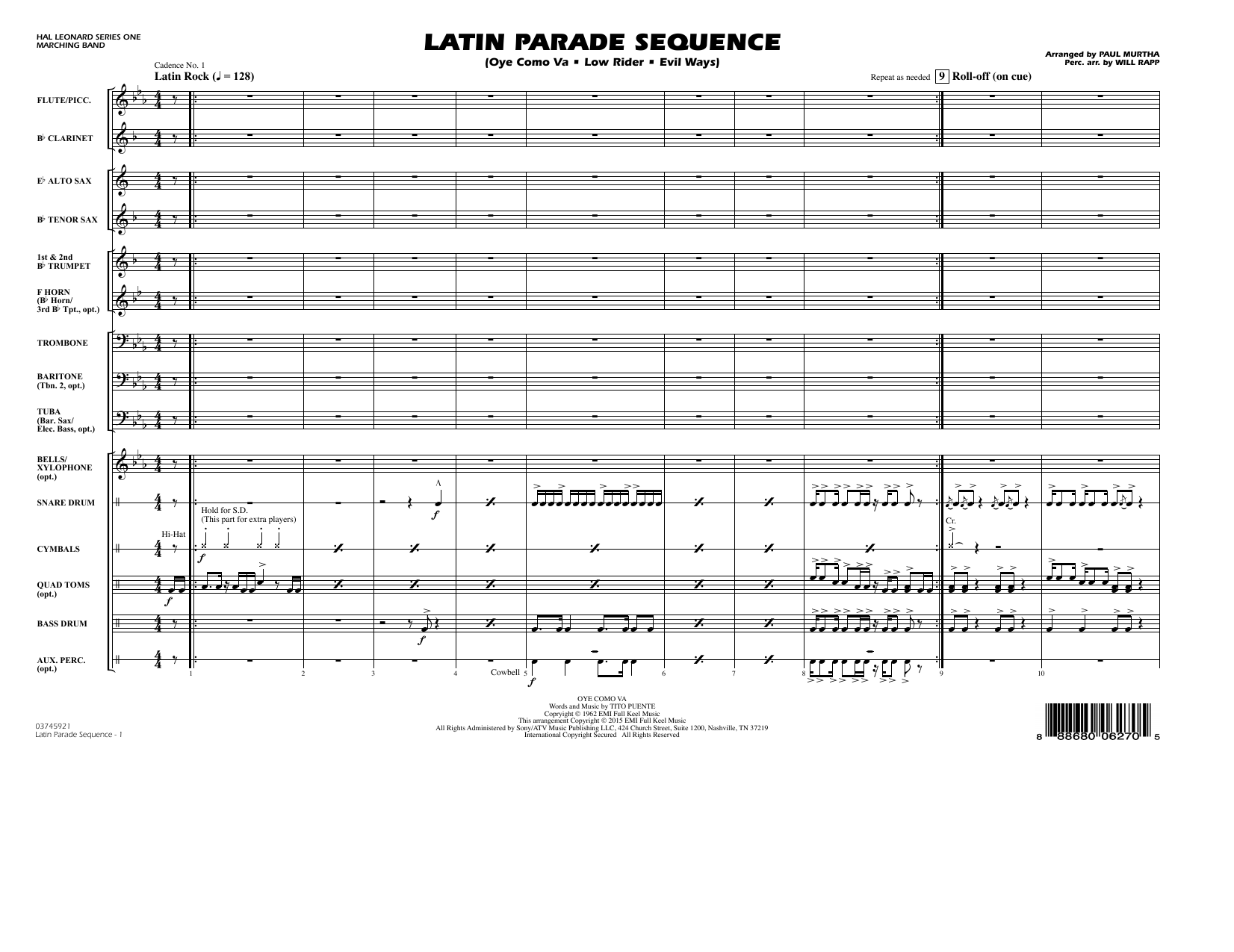 Latin Parade Sequence (COMPLETE) sheet music for marching band by Paul Murtha. Score Image Preview.
