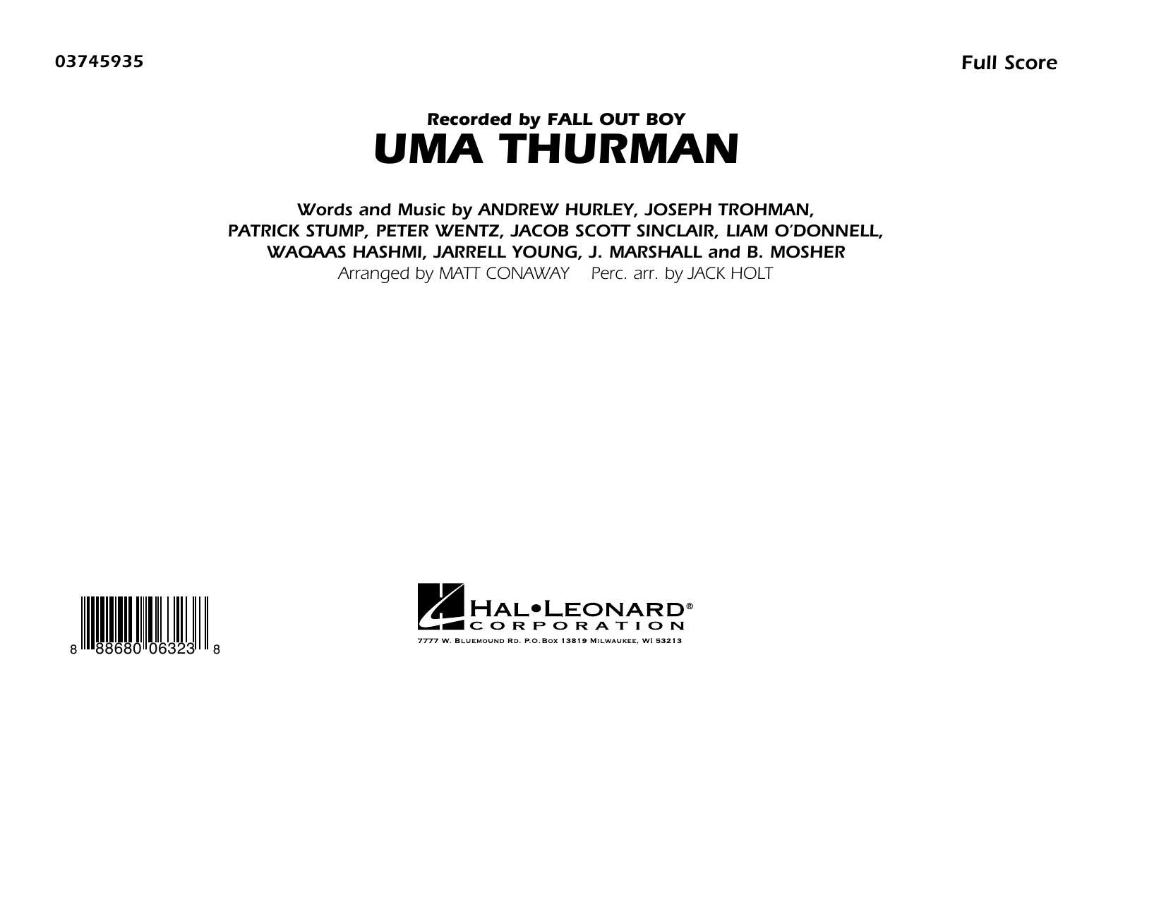 Uma Thurman (COMPLETE) sheet music for marching band by Fall Out Boy and Matt Conaway. Score Image Preview.