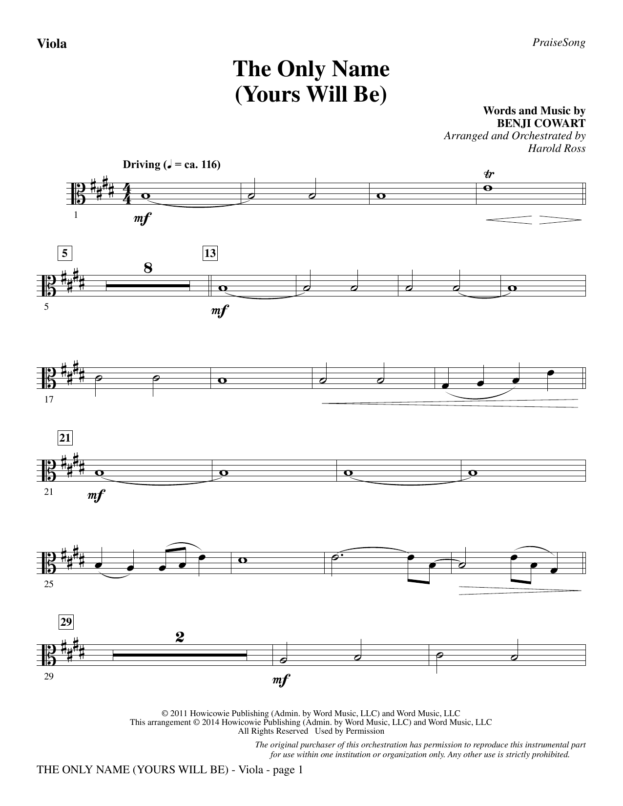 The Only Name (Yours Will Be) - Viola Sheet Music