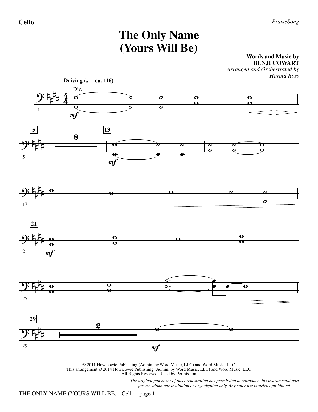 The Only Name (Yours Will Be) - Cello Sheet Music