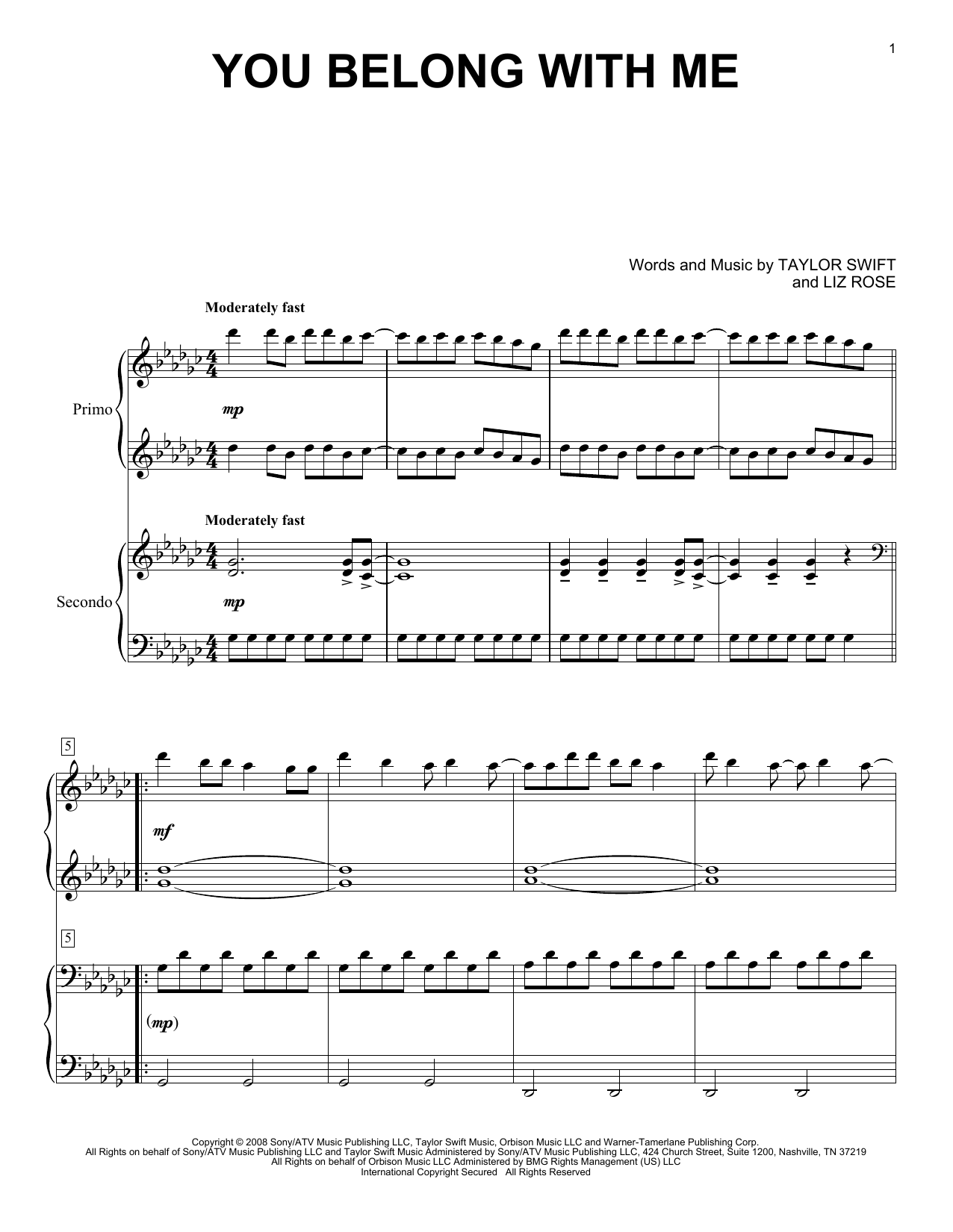 You Belong With Me Sheet Music