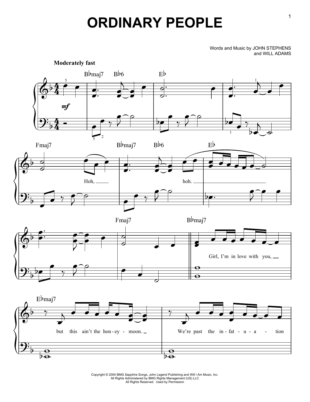 Ordinary people sheet music direct sheet preview ordinary people hexwebz Choice Image