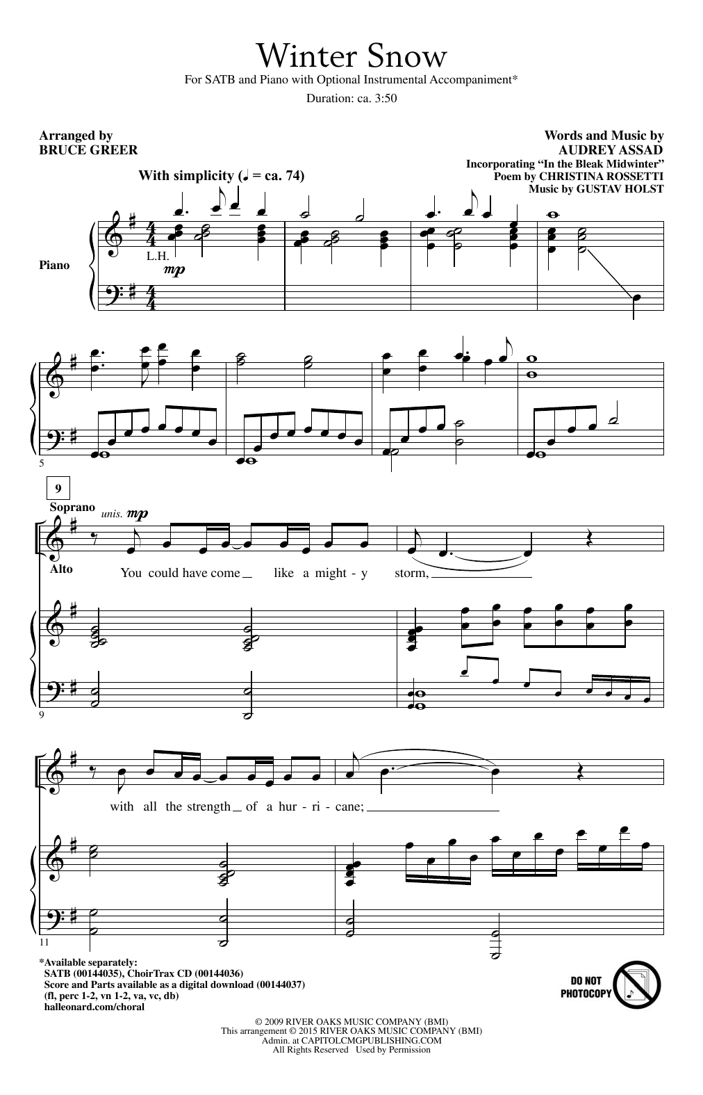 Winter Snow Sheet Music