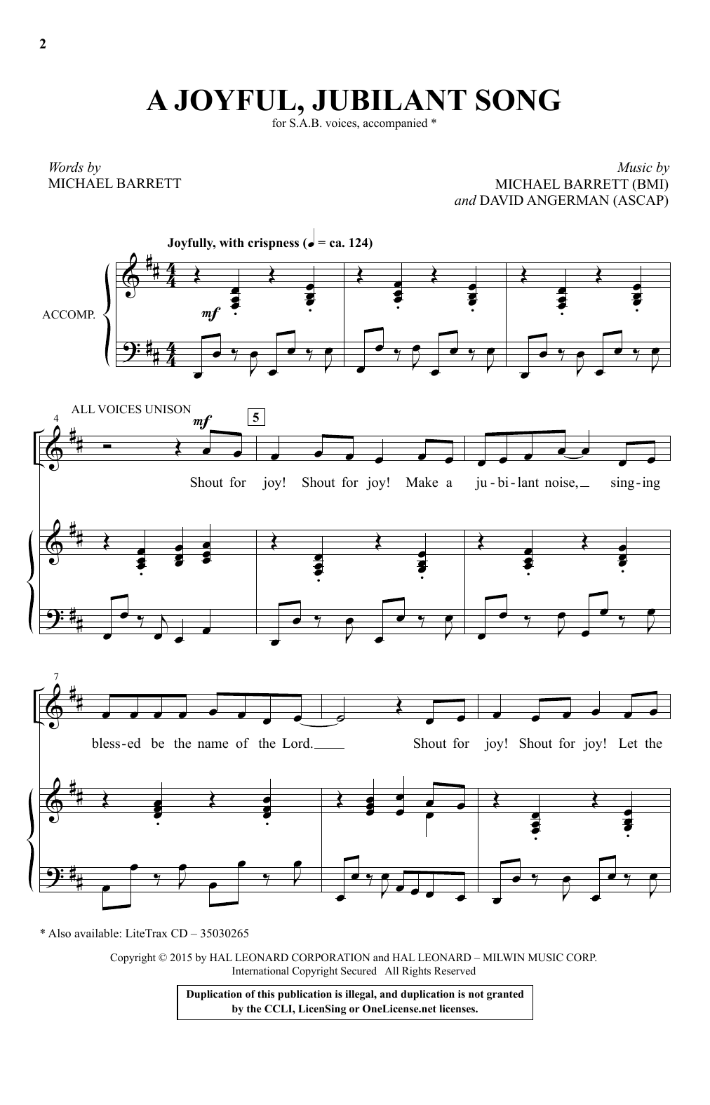 A Joyful, Jubilant Song Sheet Music