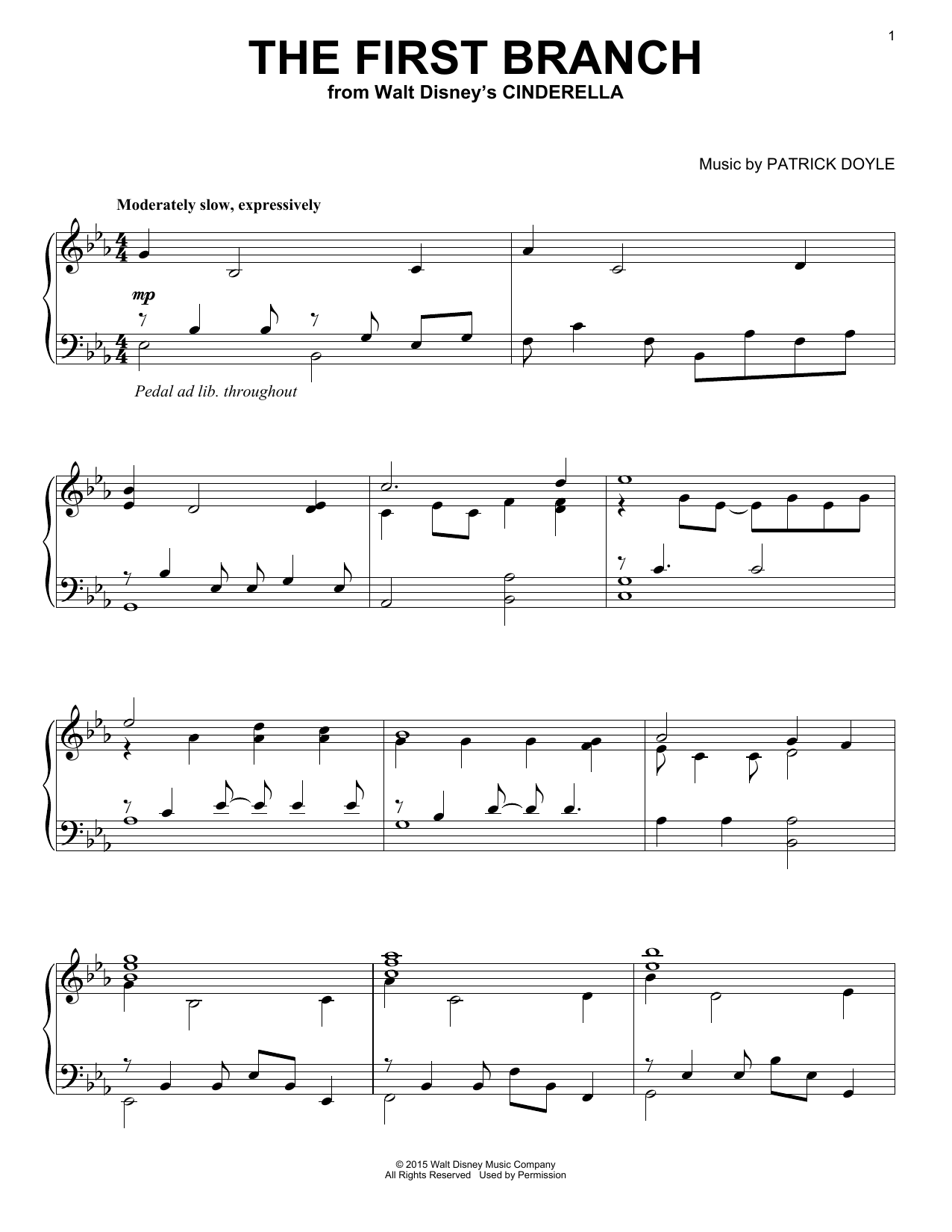 The First Branch (from Walt Disney's Cinderella) Sheet Music