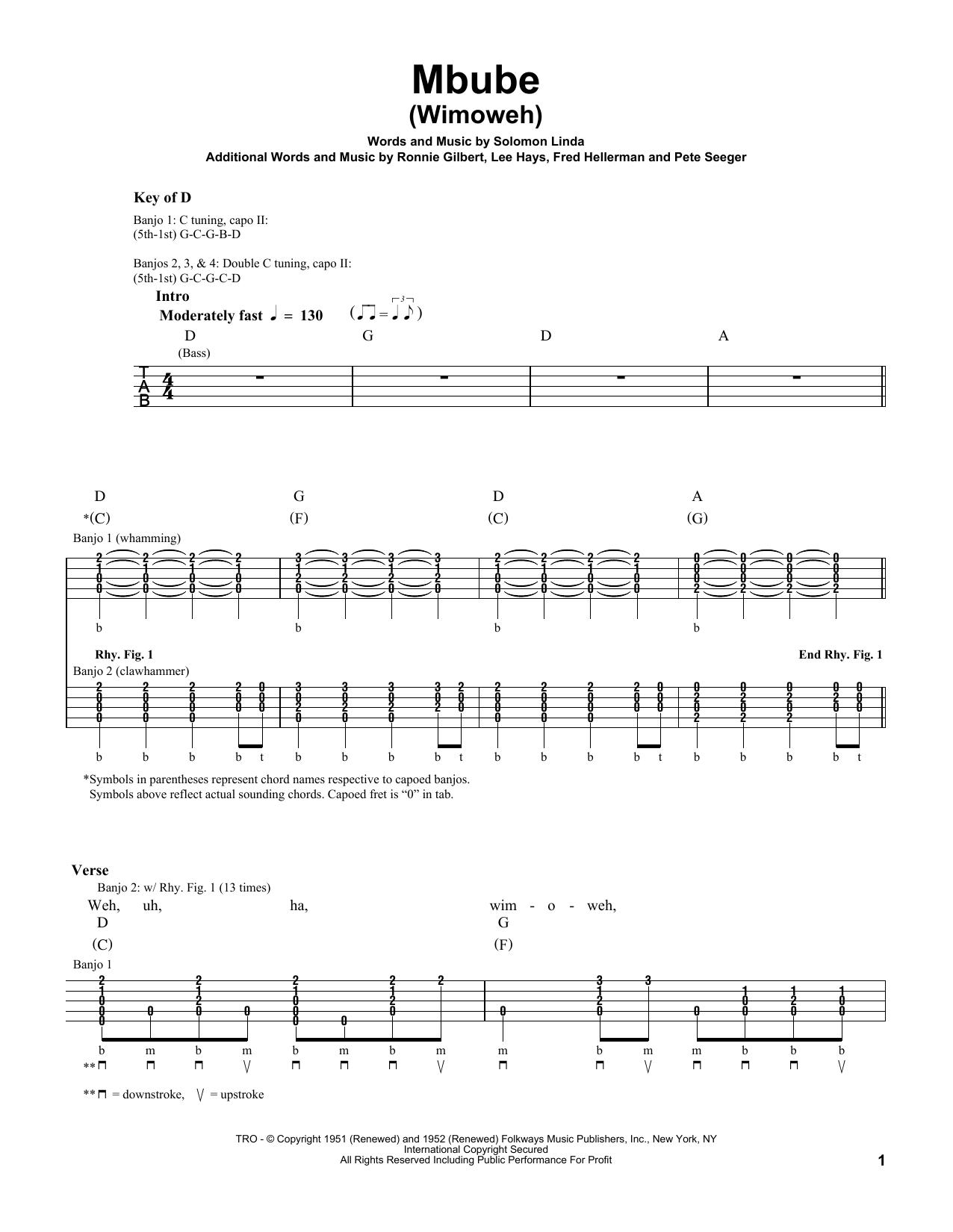 Mbube (Wimoweh) Sheet Music