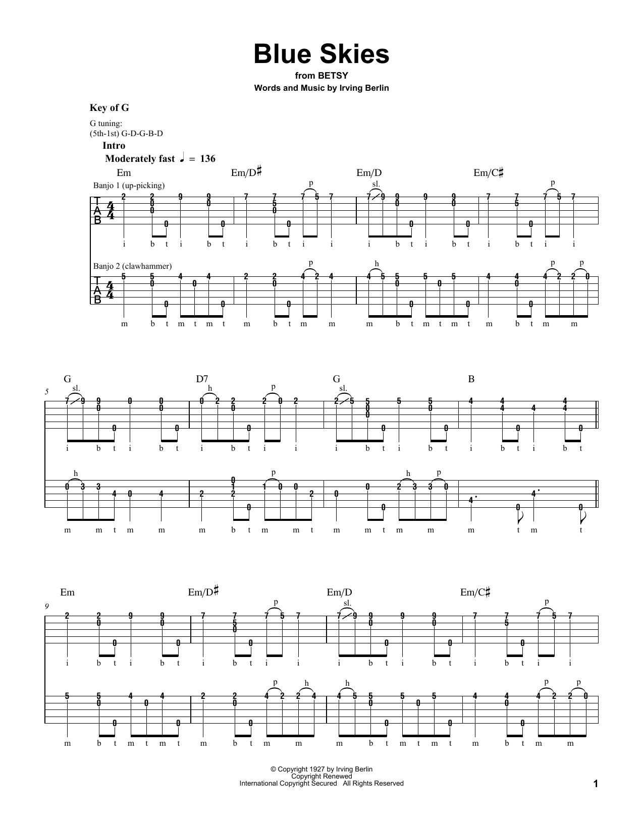 Blue Skies (Banjo Tab)
