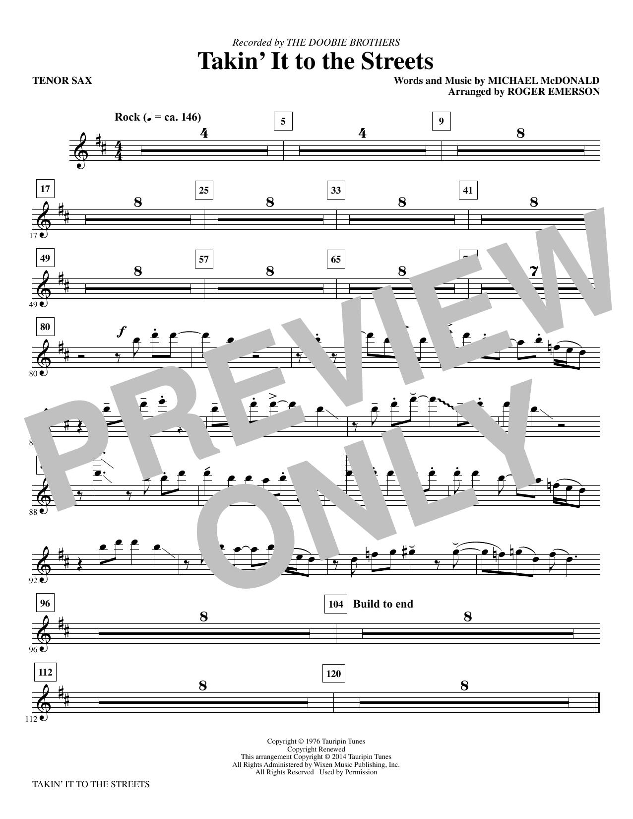 Takin' It to the Streets - Tenor Saxophone (Choir Instrumental Pak)