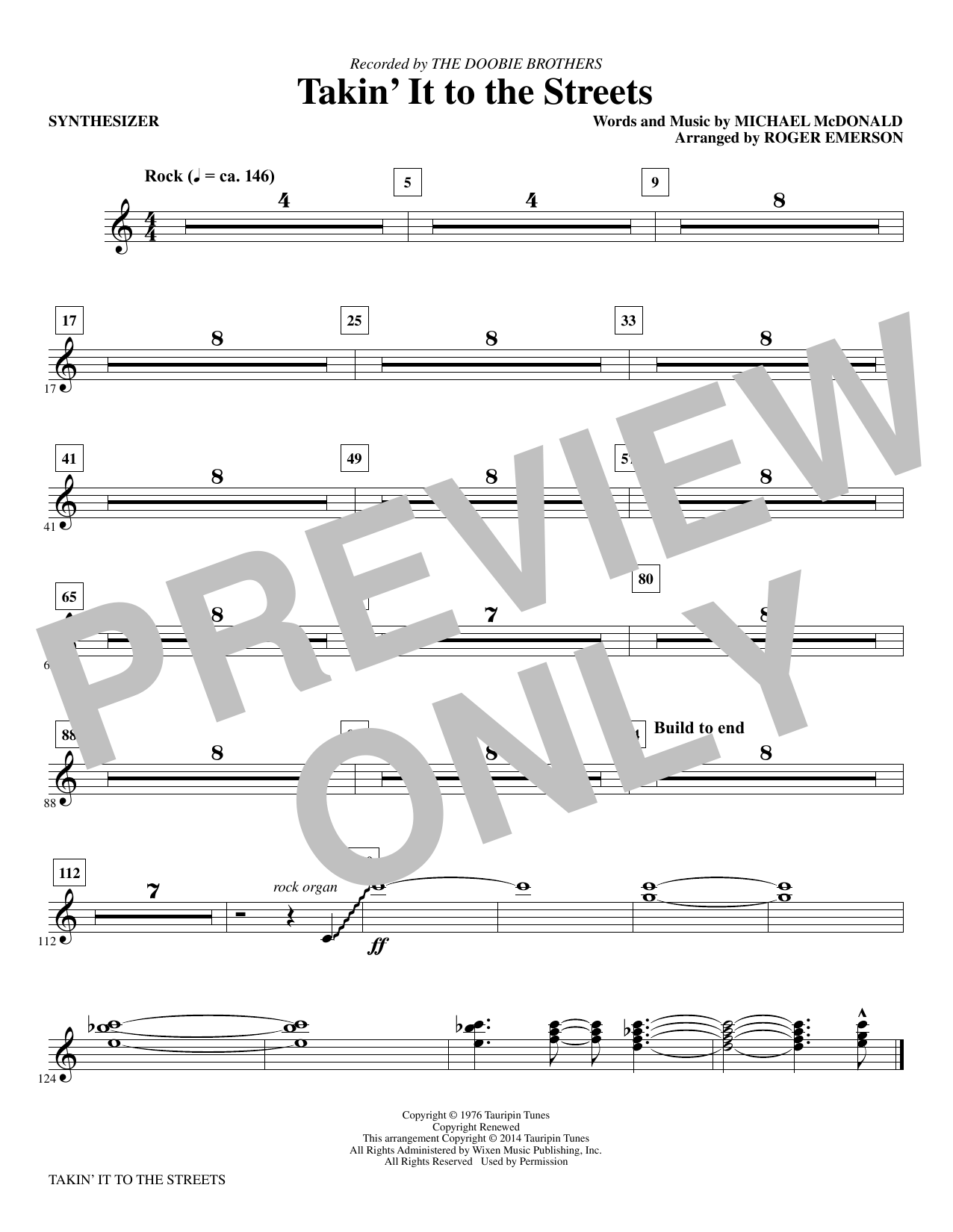Takin' It to the Streets - Synthesizer Sheet Music