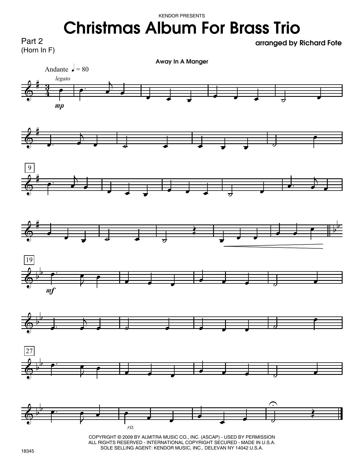 Christmas Album For Brass Trio - Part 2 Sheet Music