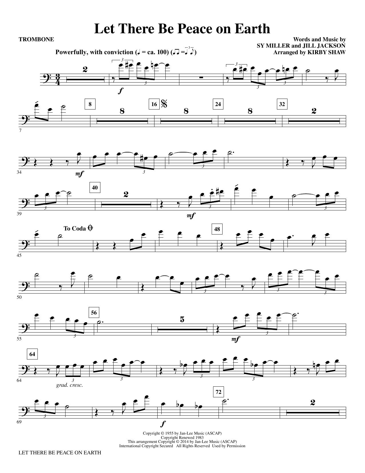 Let There Be Peace on Earth - Trombone Sheet Music