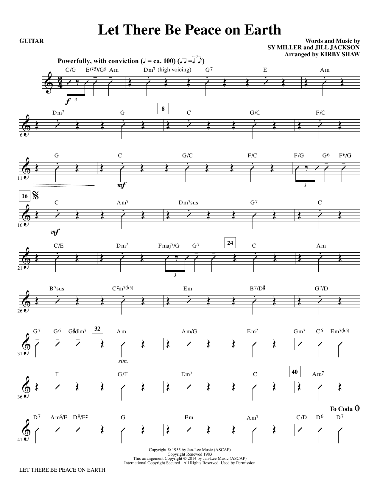 Let There Be Peace on Earth - Guitar Sheet Music