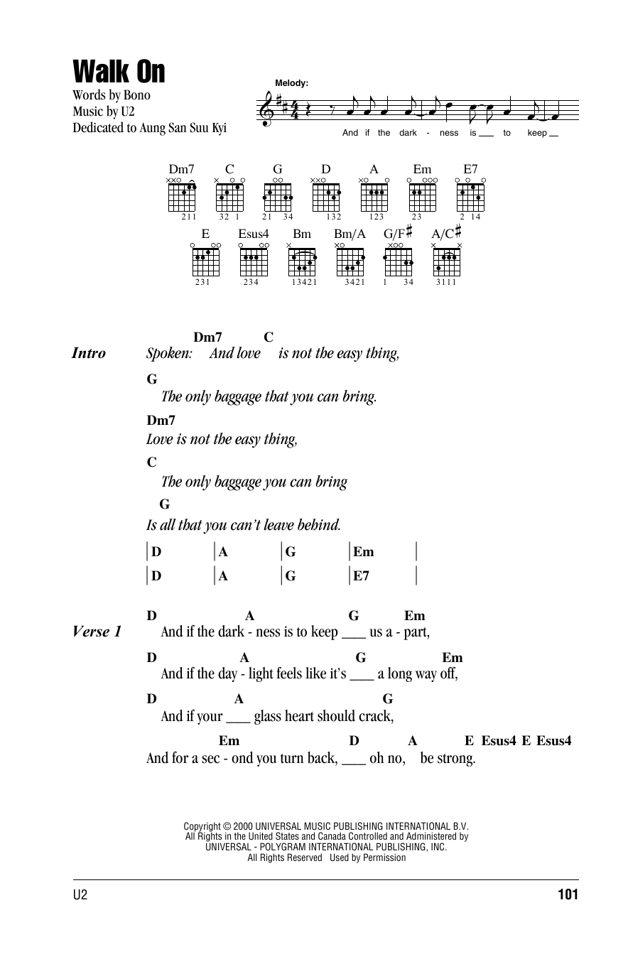 Walk On (Guitar Chords/Lyrics)